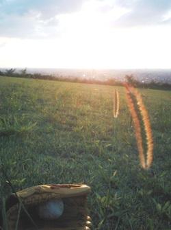 大乗寺丘陵公園から夕日を